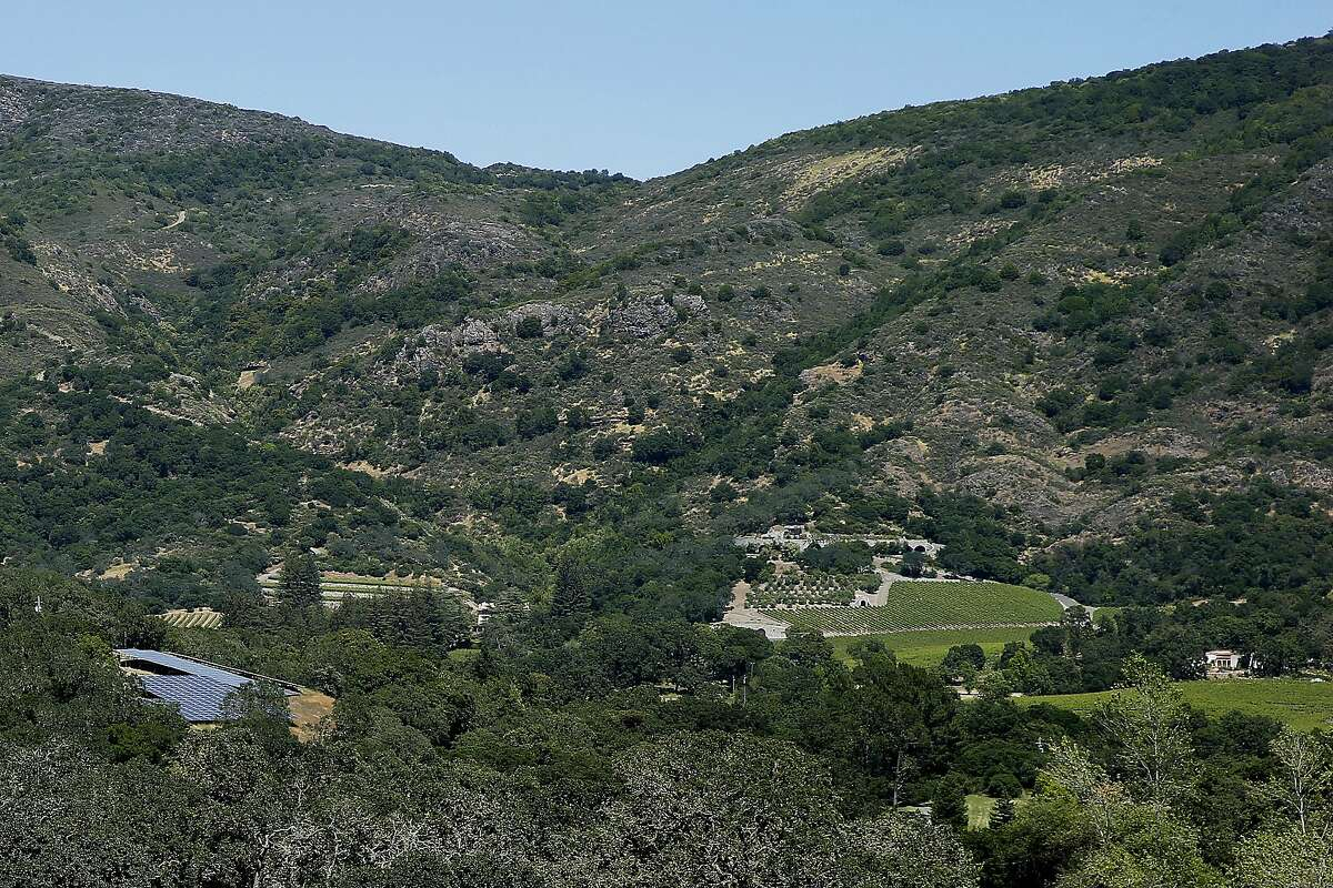 The Napa Valley area where Christian Palmaz wants to develop his helicopter pad on his vineyard (bottom of the photo), seen on Wednesday, May 17, 2017, in Napa, Calif. Palmaz's proposed project became a controversial topic with his neighbors, who strongly disapprove the loud noises the helicopter will make near their homes.