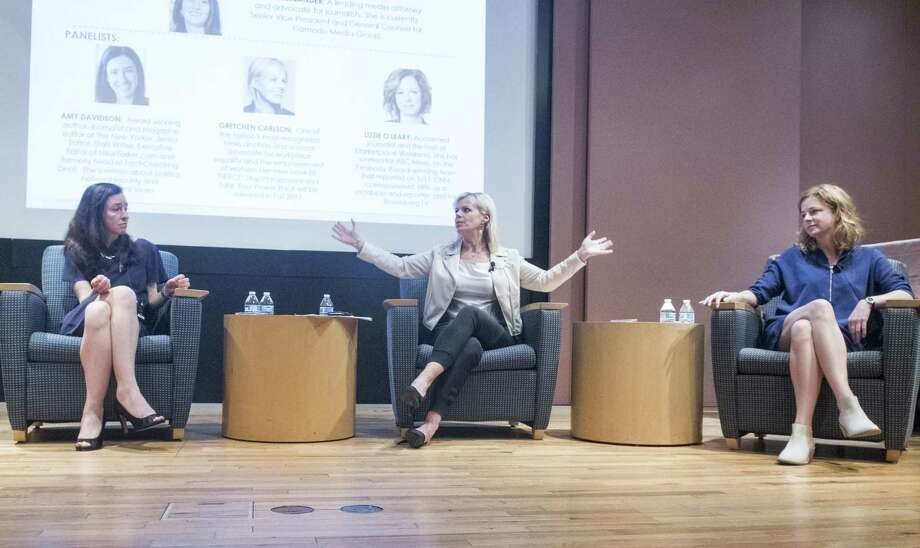 The Greenwich League of Women Voters hosts a panel featuring The New Yorker's Amy Davidson, left, Greenwich resident and former Fox News host Gretchen Carlson, center, and Marketplace's Lizzie O'Leary, the discussion focused on journalism and the concept of fake news at Greenwich Library, May 16, 2017. Media attorney Lynn Oberlander moderated the discussion in front of a packed house. Photo: Keelin Daly / For Hearst Connecticut Media / Greenwich Time Freelance