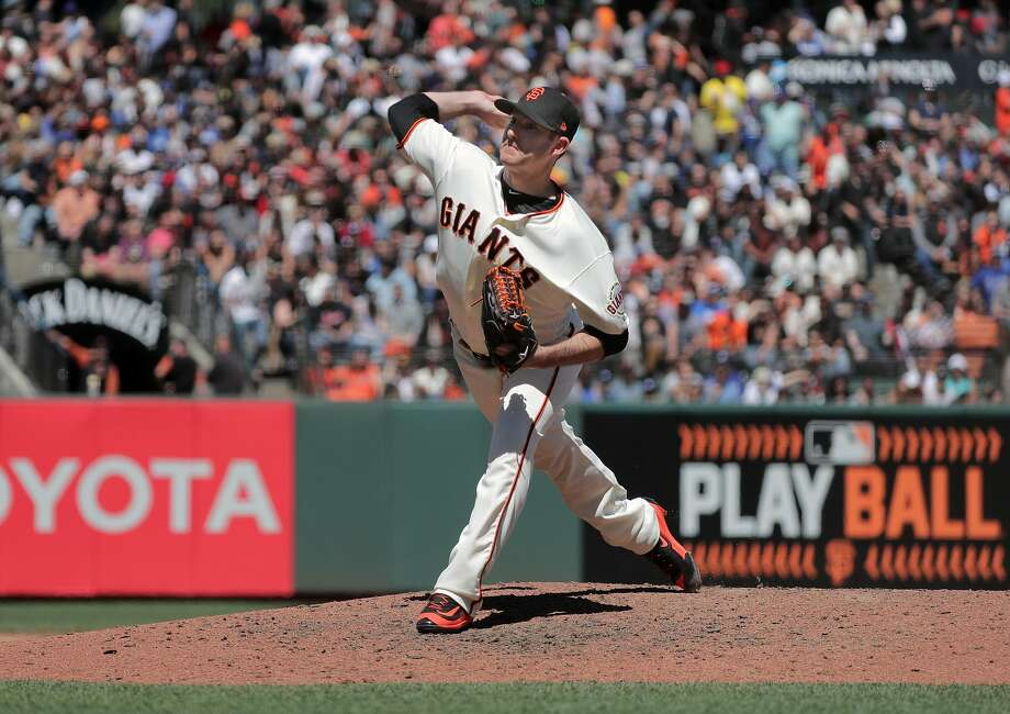 Pitcher Bryan Morris, 57 throws as the San Francisco Giants take on the Los Angeles Dodgers in MLB action at AT&T Park in San Francisco, Ca. on Wednesday May 17, 2017. Photo: Michael Macor, The Chronicle