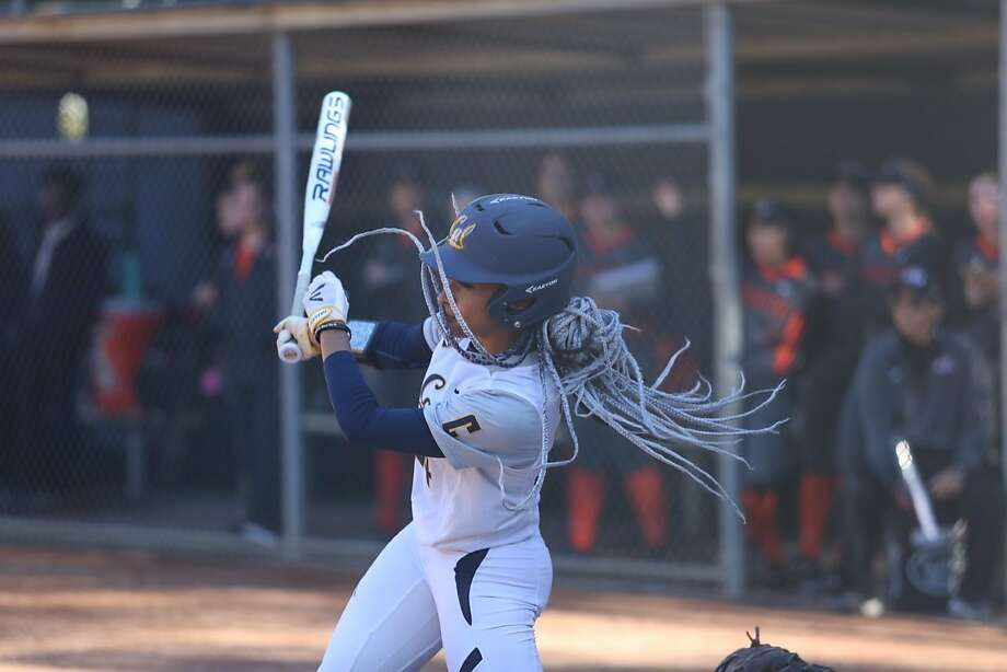 Jazmyn Jackson, her braids flowing, is Cal's second leading hitter and leads the Pac-12 in doubles with 17. Photo: Nawa Mitchell, Cal Athletics