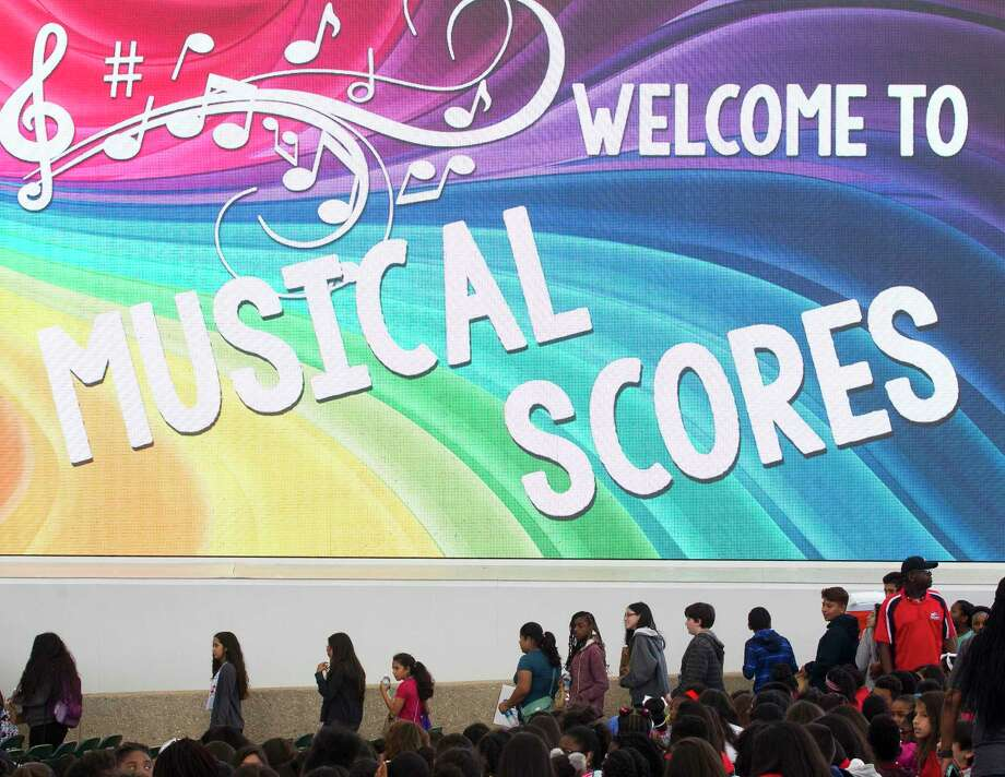More than 4,600 students attended the annual Musical Scores event at the Cynthia Woods Mitchell Pavilion, Wednesday, May 17, 2017, in The Woodlands. The educational outreach program rewards at-risk students with who displayed model behavior and achieved specific scholastic goals with lunch and a free concert. Photo: Jason Fochtman, Staff Photographer / © 2017 Houston Chronicle