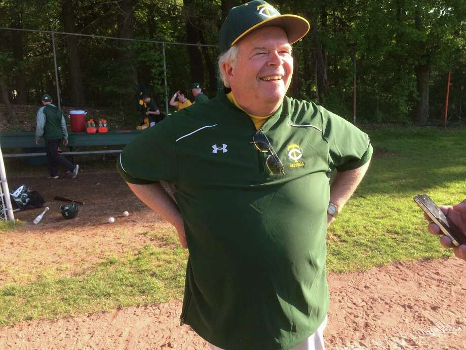 Trinity Catholic baseball coach Tracy Nichols smiles after coaching his final baseball game for the Crusaders on Wednesday, May 17, 2017. Nichols has been with the program for 40 years, 19 as the head coach. Nichols was the athletic director at Trinity up until last year. Photo: Scott Ericson/Hearst Connecticut Media / Scott Ericson/Hearst Connecticut Media / Greenwich Time Contributed
