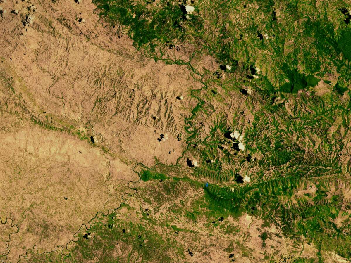 This is the border between the Dominican Republic, on the right, and Haiti on the left. The line that marks the shift from green to brown shows what happens when heavy deforestation hits one nation but not the other one.