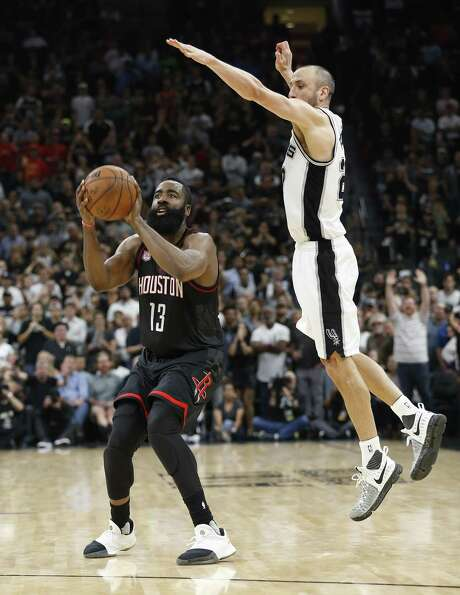 Spurs' Manu Ginobili (20) makes the block against Houston Rockets' James Harden (13) to end the game in Game 5 of the Western Conference semifinals at the AT&T Center on Tuesday, May 9, 2017. Spurs defeated the Rockets, 110-107. (Kin Man Hui/San Antonio Express-News) Photo: Kin Man Hui, Staff / San Antonio Express-News / ©2017 San Antonio Express-News