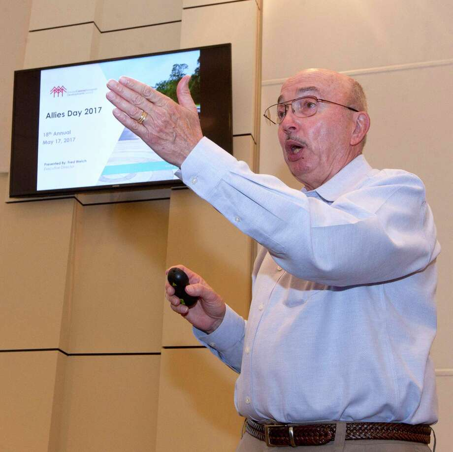 Fred Welch, executive director with the Greater Conroe Economic Development Council, speaks during the organization's annual Greater Conroe Allies Day, Wednesday, May 17, 2017, in Conroe. Photo: Jason Fochtman, Staff Photographer / © 2017 Houston Chronicle