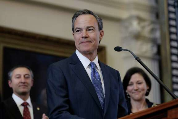 Texas Speaker of the House Joe Straus, R-San Antonio, stands before the opening of the 85th Texas Legislative session in the house chambers at the Texas State Capitol after he was re-elected for a fifth consecutive term, Tuesday, Jan. 10, 2017, in Austin, Texas. (AP Photo/Eric Gay)