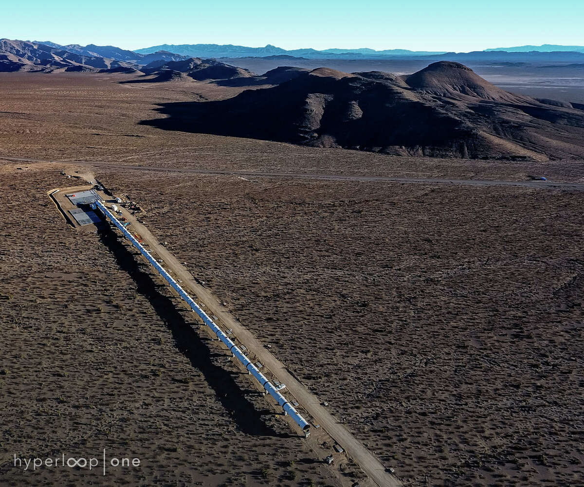 An overhead view of Hyperloop One's test track in the Nevada desert. With the track complete, it plans to start testing soon.
