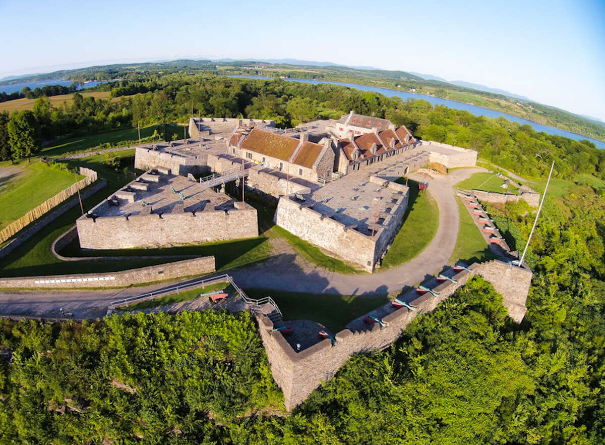 This aerial view shows some of more than 140 18th-century artillery pieces, the largest collection in North America, that will be part of a 2016 exhibit at the Fort Ticonderoga Museum. The exhibit will be created with a $150,000 federal grant. (Photo courtesy of Fort Ticonderoga Museum)