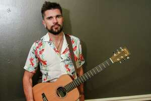 Latin superstar Juanes in his dressing room before his concert at Arena Theatre.  (For the Chronicle/Gary Fountain, May 17, 2017)
