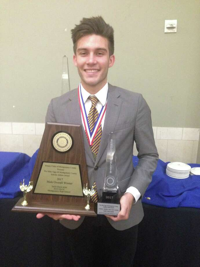 Montgomery senior Tate Paulson won the Male Gold Overall Winner award at the Mike Ogg Scholar Athlete Awards Ceremony Wednesday evening at Lone Star Convention Center. Photo: Rob Tate