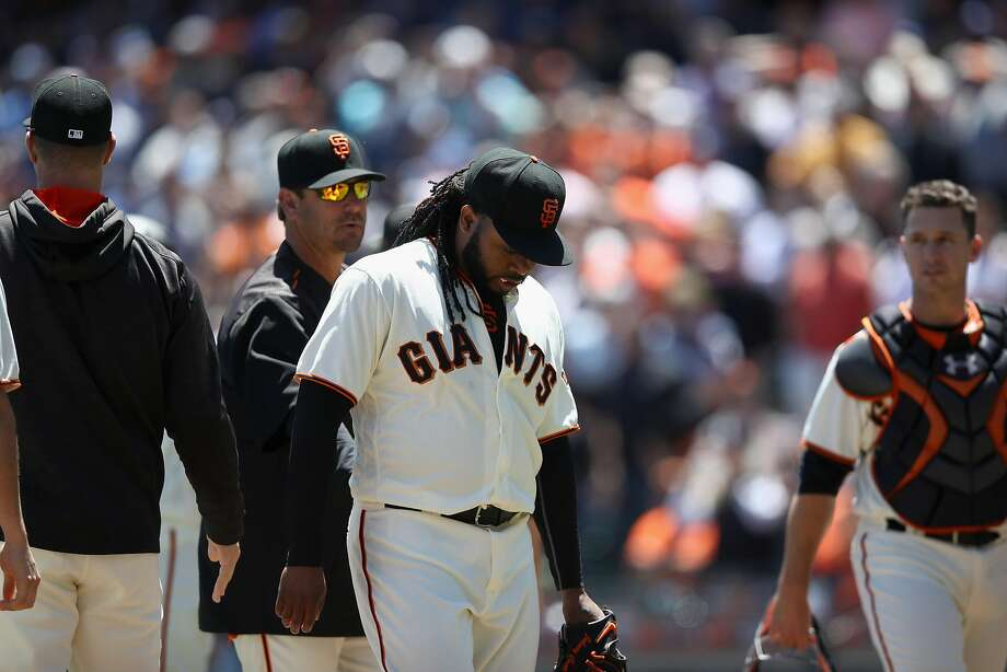 Johnny Cueto gave up five runs, all earned, and eight hits in six innings Wednesday, but he has had a solid season so far. He can opt out of his six-year deal with the Giants after this season. Photo: Ezra Shaw, Getty Images