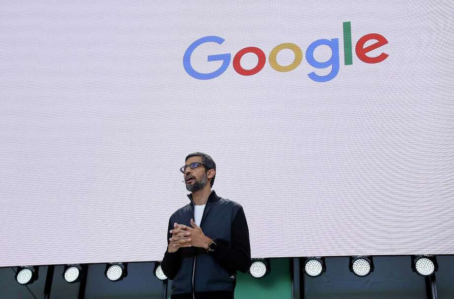 Google CEO Sundar Pichai delivers the keynote address of the Google I/O conference, Wednesday, May 17, 2017, in Mountain View, Calif. Google provided the latest peek at the digital services and gadgets that it has assembled in the high-tech tussle to become an even more influential force in people's lives. (AP Photo/Eric Risberg) Photo: Eric Risberg, STF / Copyright 2017 The Associated Press. All rights reserved.