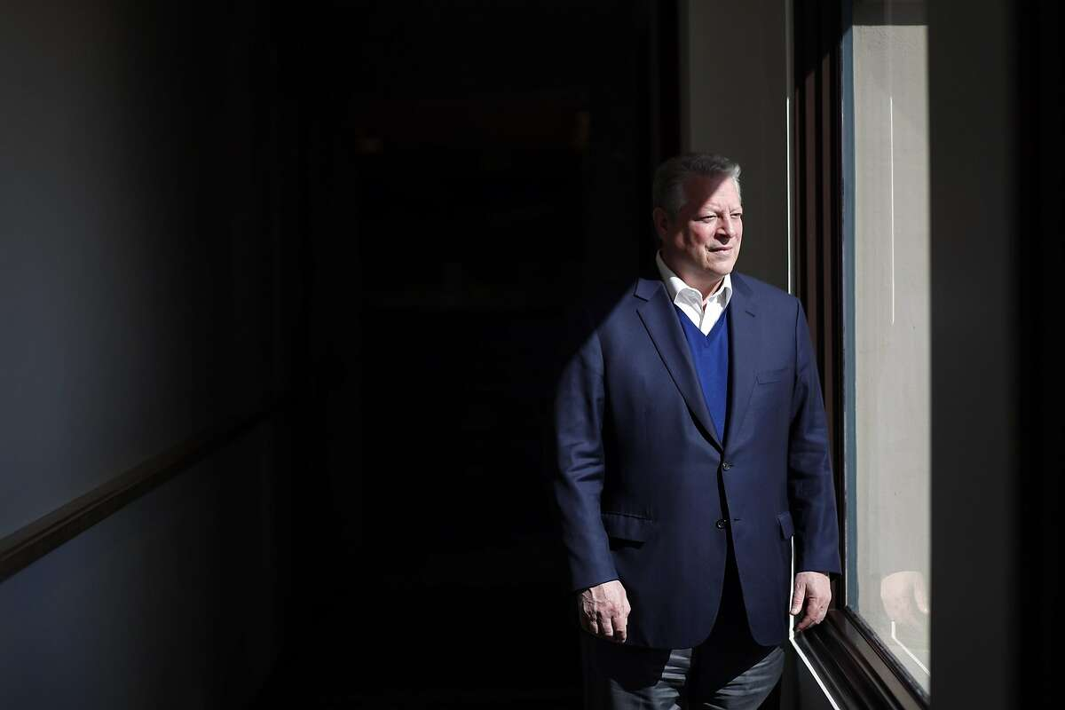 """Former Vice President Al Gore at the Skoll Foundation before discussing his new film, """"An Inconvenient Sequel,"""" in Palo Alto."""