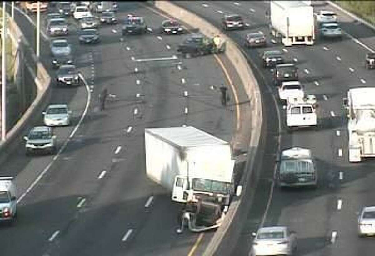 An accident involving a tractor-trailer truck and another vehicle has shut down two I-95 southbound lanes in Stratford on Thursday, May 18, 2017. The left and center lane are closed between Exits 32 and 33.