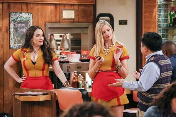 "Max Black (Kat Dennings), Caroline Channing (Beth Behrs) and Han Lee (Matthew Moy) in a scene from ""2 Broke Girls."" MUST CREDIT: Robert Voets, CBS"
