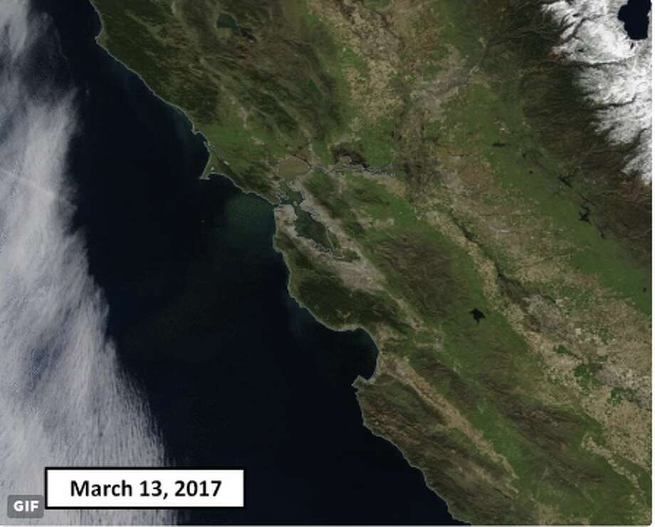 March 13, 2017: At the end of a winter marked by heavy precipitation, California appears rather green from overhead. Photo: NASA / National Weather Service