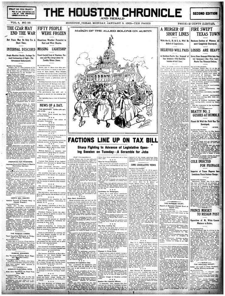 Houston Chronicle front page - January 9, 1905 - section 1, page 1.   BEATTY NO. 2 GUSHES AT HUMBLE Finest Oil Well the Field Has Yet Developed