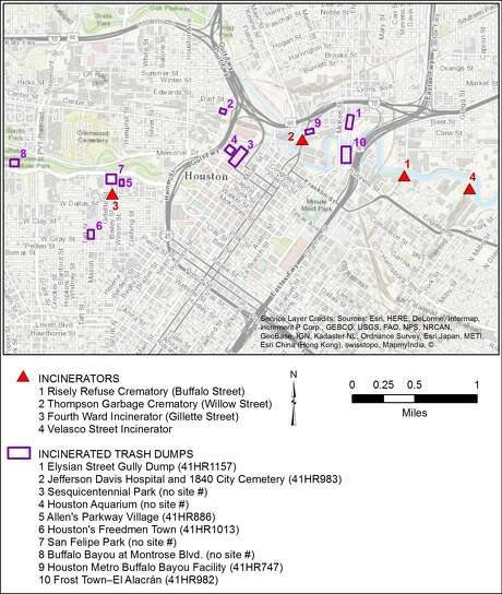 A map shows the locations of city incinerators and dumps, located mostly in historically Black and Hispanic neighborhoods along Buffalo Bayou. Photo: Doug Boyd