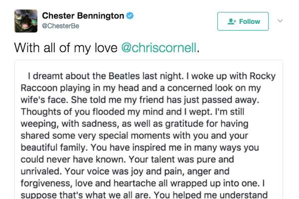 Reaction to the news of the death of Chris Cornell.