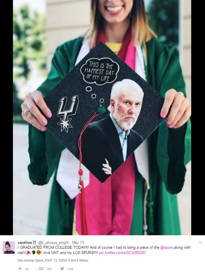 @c_always_wright: I GRADUATED FROM COLLEGE TODAY!!! And of course I had to bring a piece of the @spurs along with me!!! I love UNT and my LOS SPURS!!!! Photo: Twitter, Instagram, Facebook