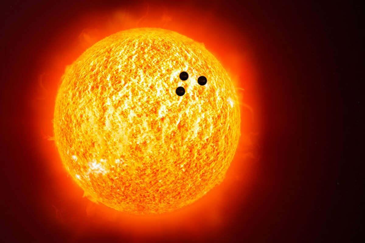 """An image of three """"UFOs"""" whizzing past the Sun was recently debunked by NASA. >>>SIGNS OF ALIEN LIFE? See more strange things spotted in NASA space photos ..."""