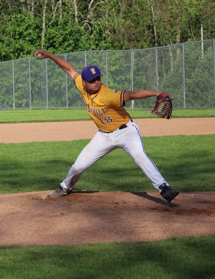 Westhill's Simon Uka delivers a pitch in the sixth inning during an FCIAC baseball game between Westhill and New Canaan at Westhill High School in Stamford, Conn. Wednesday, May 17, 2017. Westhill defeated New Canaan 5-4. Photo: Anthony E. Parelli / Hearst Connecticut Media / New Canaan News