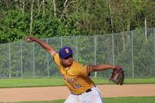 Westhill's Simon Uka delivers a pitch in the sixth inning during an FCIAC baseball game between Westhill and New Canaan at Westhill High School in Stamford, Conn. Wednesday, May 17, 2017. Westhill defeated New Canaan 5-4.