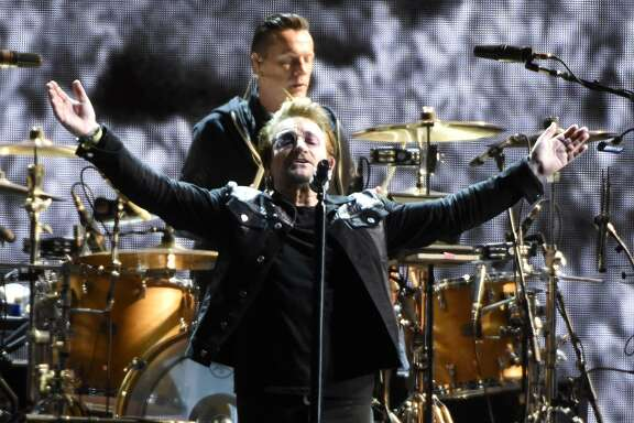 U2 perform during the band's 'Joshua Tree Tour 2017' at Levi's Stadium on May 17, 2017 in Santa Clara, California.