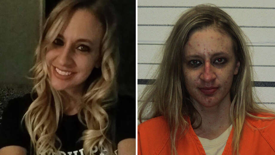 Megan Sloan, 27, was allegedly found with drugs in her purse at Holmes Park Elementary School in Sapulpa on May 1 (Megan Sloan/Facebook and Creek County)