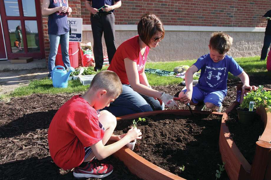 First grader Easton Russell, left, helps plant a garden with teacher Lori Kemp and classmate Blake Sakon Thursday morning at Unionville-Sebewaing Area Elementary School. Photo: Brenda Battel/Huron Daily Tribune
