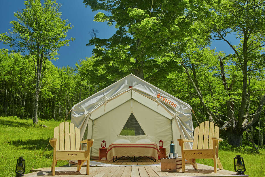 Each new campsite will be fully equipped with a platform and large canvas tent with bed, according to Tentrr.