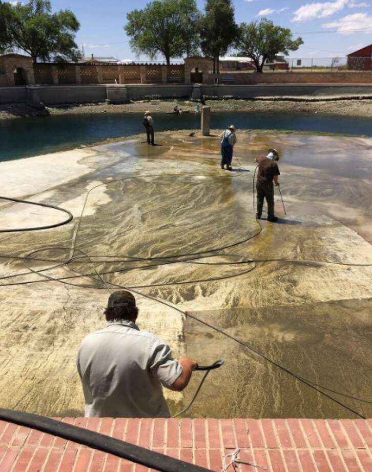 Balmorehea State Park pool was drained last week to be cleaned. Photo: TPWD