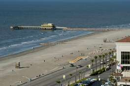 The brand new beach in front of the Galveston Island Convention Center at the San Luis Resort at 56th and Seawall from the $20 million Galveston Beach Renourishment Project.  