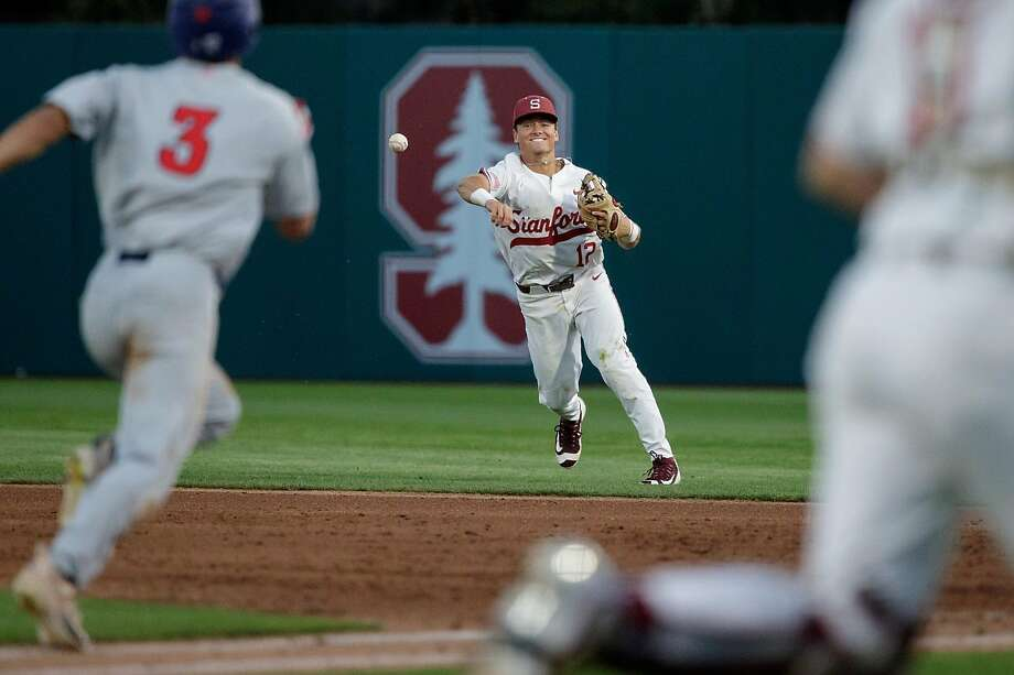 Duke Kinamon, here in action earlier this season, drove in the go-ahead run on Sunday night as Stanford remained alive and forced a third meeting with Fresno State in the NCAA baseball tournament regional at Sunken Diamond. Photo: Stanford Athletics / Stanford Athletics