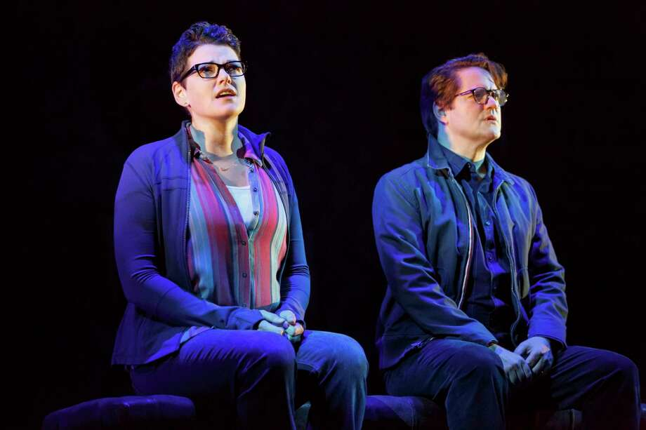 """Kate Shindle stars as Alison and Robert Petkoff asher father, Bruce, in """"Fun Home,"""" at the Hobby Center through May 28. Photo: Joan Marcus / ©2016 Joan Marcus"""