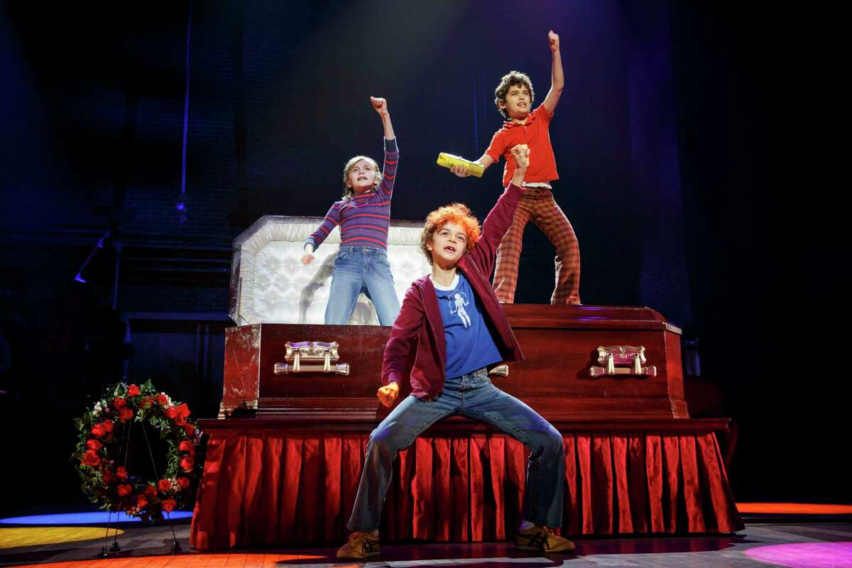 """(From L) Carly Gold as SmallAlison, Pierson Salvador as Christian andLennon Nate Hammond as John in """"Fun Home."""""""