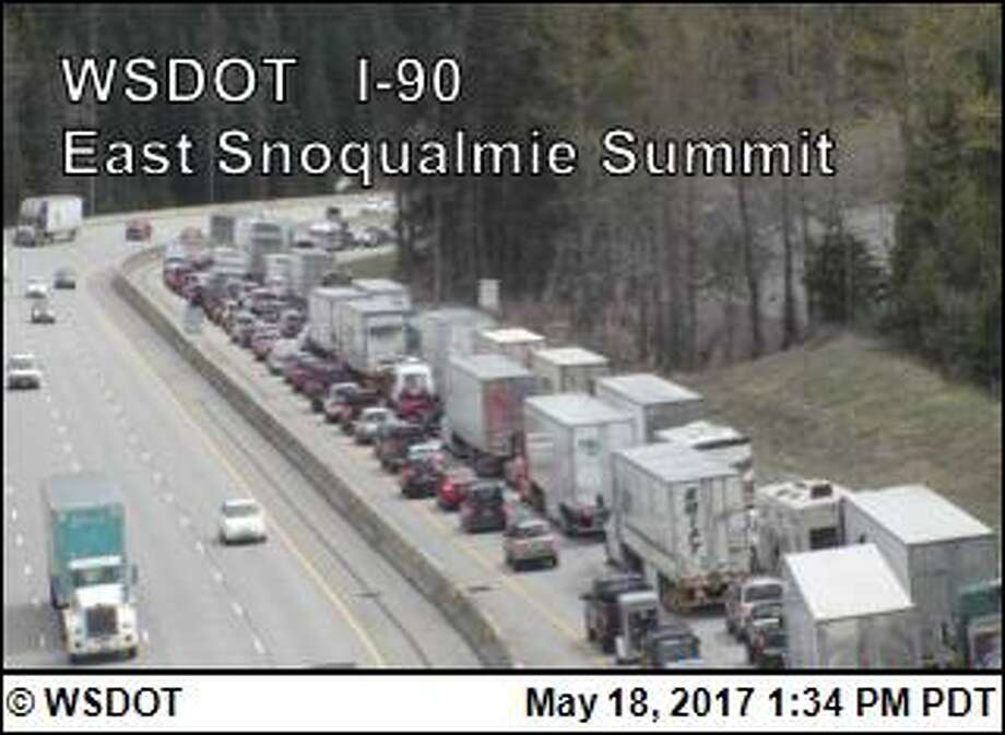 A major collision is causing an afternoon slowdown for drivers crossing I-90 eastbound near the Snoqualmie Pass summit. Photo: WSDOT