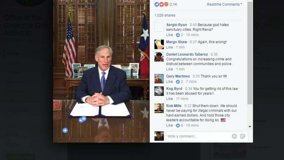 Gov. Greg Abbott made a claim about Travis County's sheriff as he prepared to sign Senate Bill 4 into law during a Facebook Live presentation May 7, 2017 (screenshot).