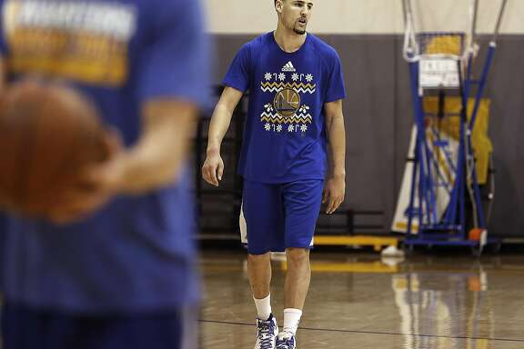 Warriors Klay Thompson during practice on Thursday, May 18, 2017, in Oakland, Calif.