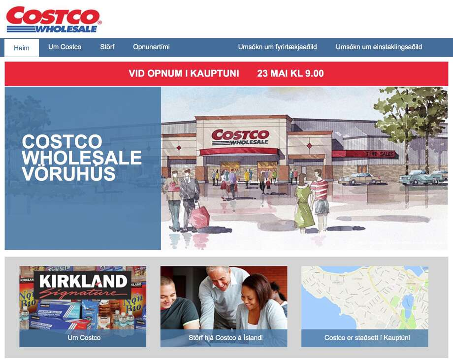 Screen grab of Costco's new website for its Iceland store set to open on Tuesday.