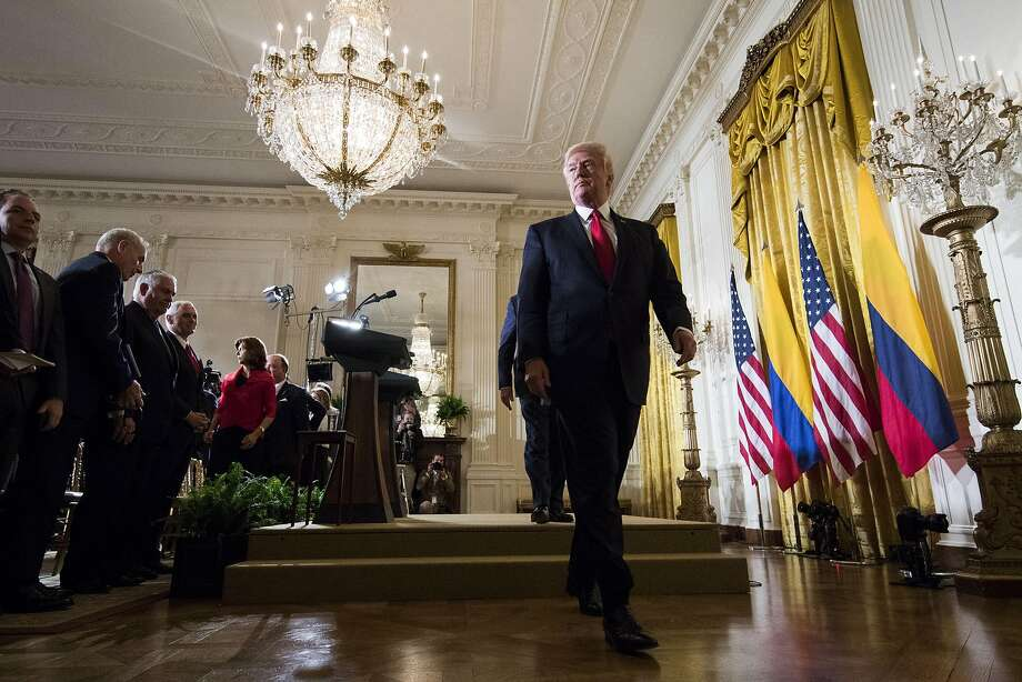 President Trump leaves a White House news conference, where he took questions about the firing of FBI Director James Comey. Photo: DOUG MILLS, NYT