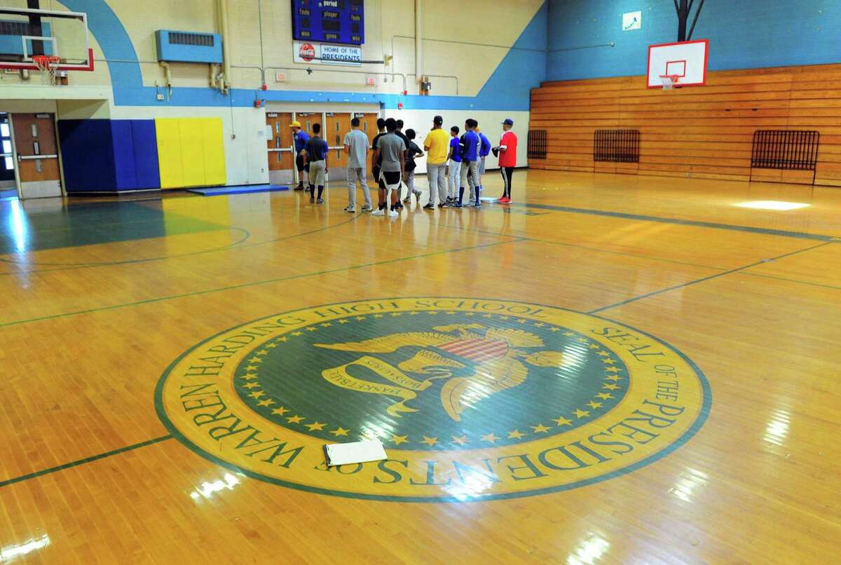 The Harding High School baseball team practices in the gym in Bridgeport, Conn. on Wednesday May 17, 2017. Harding is going to the state tournament for first time since 1988.