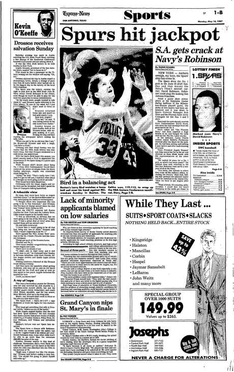 """On March 17, 1987, the Spurs drew the number one pick in the upcoming NBA draft, meaning they had first dibs on Navy's David Robinson. The lead paragraph in the next day's sports page had fun with naval imagery, """"Anchors aweigh, my boys, the Spurs' ship has come in."""" The story later refers to Robinson as """"Navy's 7-foot-1 aircraft carrier"""" who could plug the """"leaking San Antonio franchise."""" Photo: From Digitized Microfilm"""