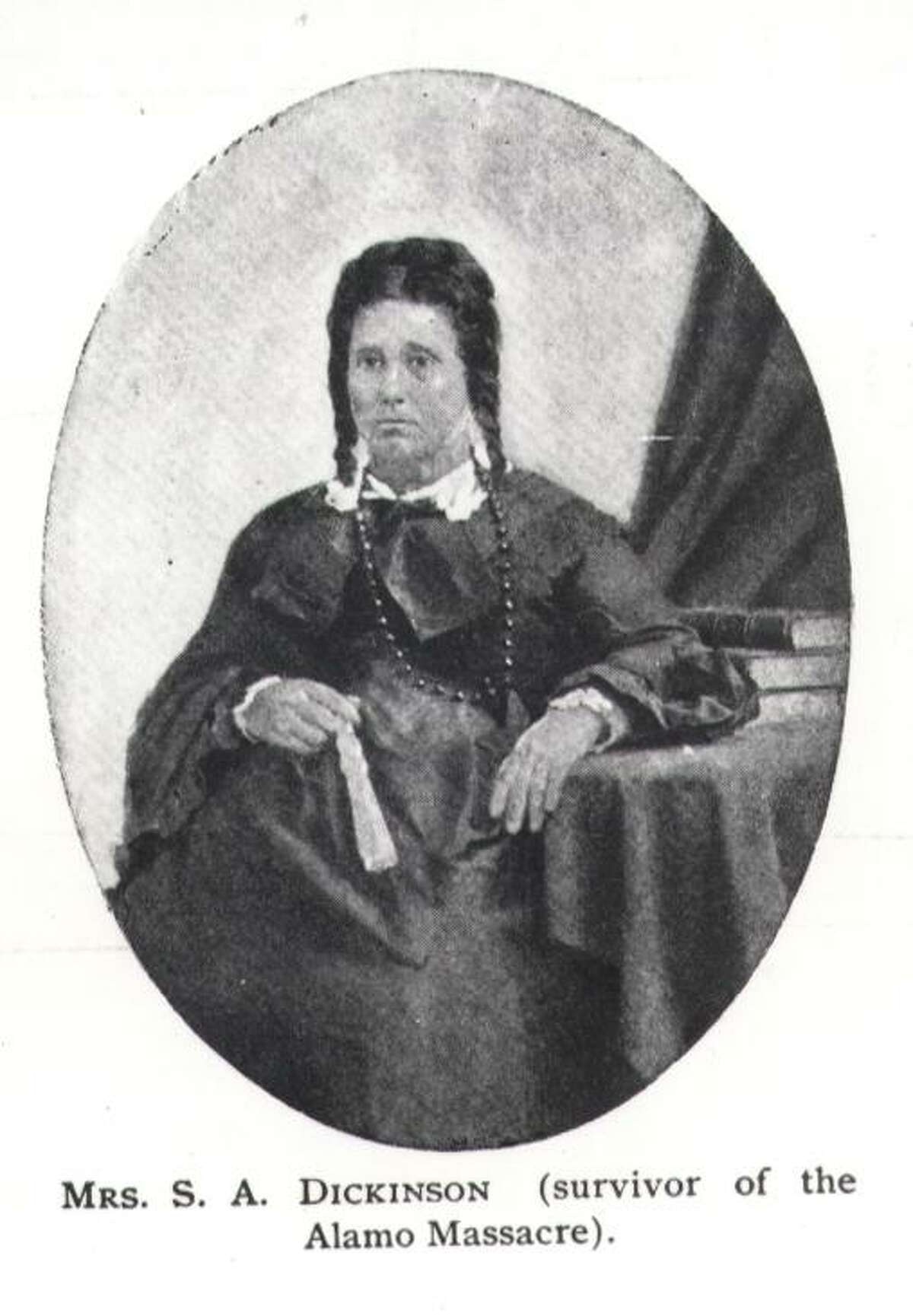 Susanna Dickinson Susanna Dickinson was an illiterate woman in her early 20s. Dickinson and her daughter were survivors of the Battle of the Alamo. This page is from