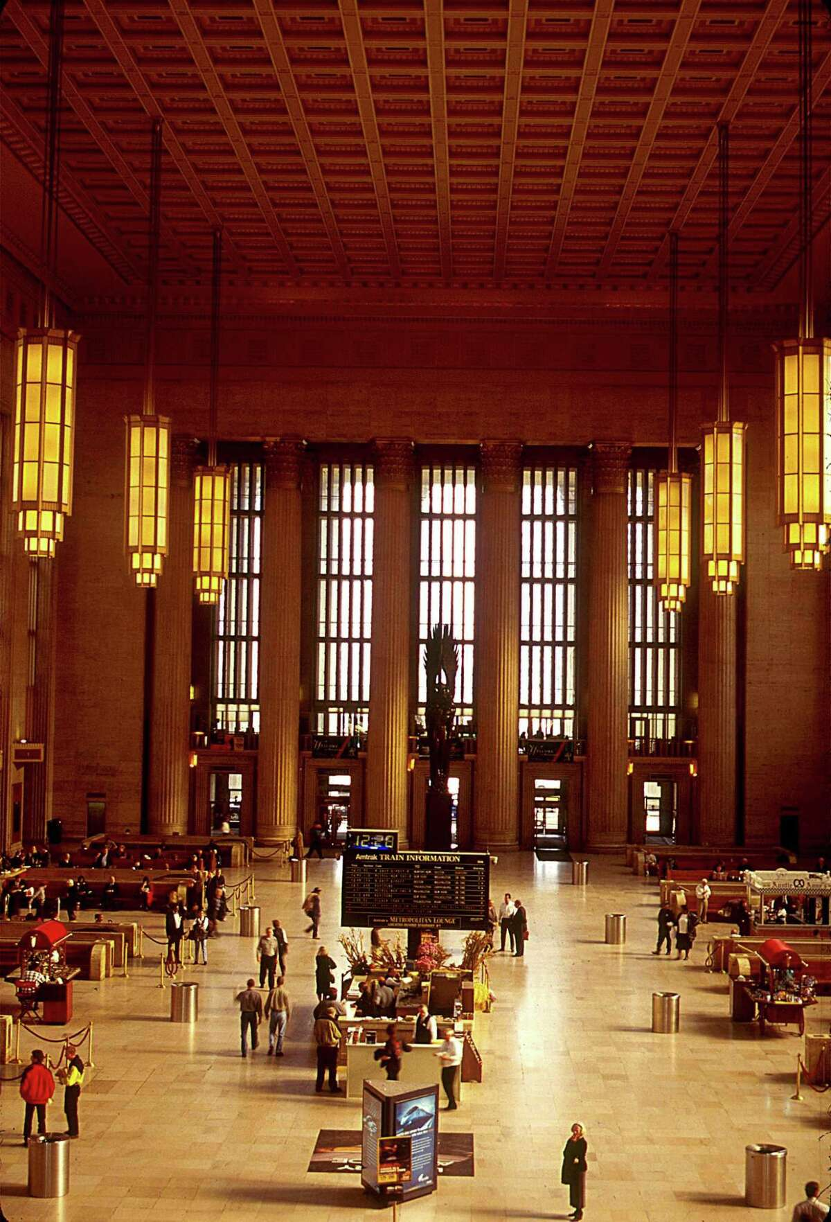 The 30th Street Station in Philadelphia is the United States' second most active railway station. Located on Market Street, the station is on the National Register of Historic Places.