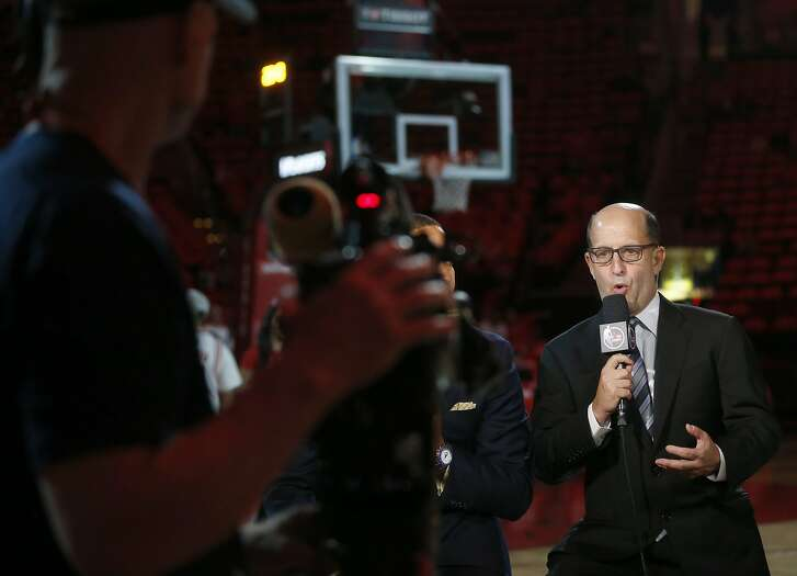 Jeff Van Gundy works the pre-game show before Game 6 of the second round of the Western Conference NBA playoffs at the Toyota Center, Thursday, May 11, 2017, in Houston. ( Karen Warren / Houston Chronicle )