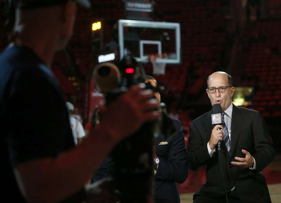 Jeff Van Gundy works the pre-game show before Game 6 of the second round of the Western Conference NBA playoffs at the Toyota Center, Thursday, May 11, 2017, in Houston. ( Karen Warren / Houston Chronicle ) Photo: Karen Warren, Houston Chronicle