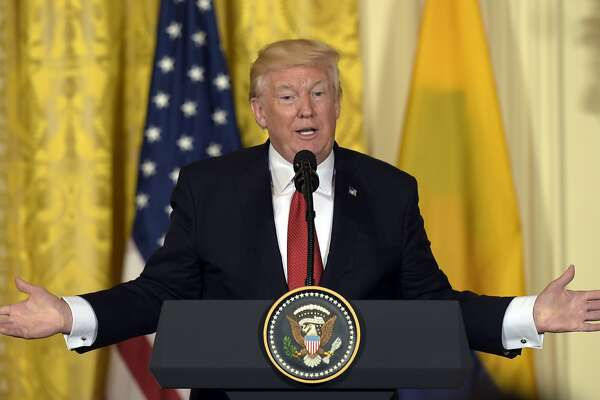 President Donald Trump speaks during a news conference with Colombian President Juan Manuel Santos in the East Room of the White House in Washington, Thursday, May 18, 2017. (AP Photo/Susan Walsh)