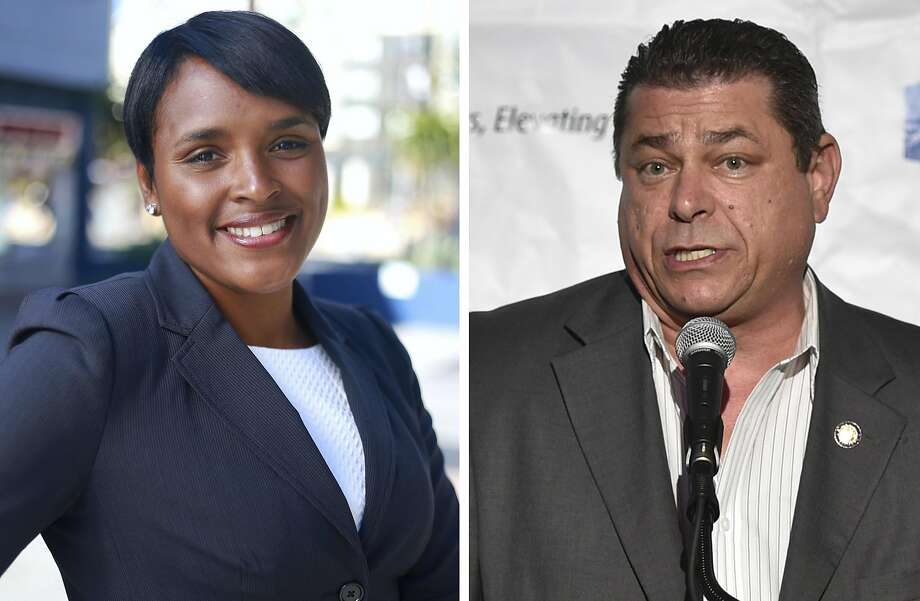 Eric Bauman was elected chair of the California Democratic Party on Saturday, winning a tight 1,493 to 1,431 victory over Kimberly Ellis of Richmond. Photo: Photos Joshua Abeyta/Kimberly Ellis For California Via AP ;  John Shearer/Invision For ETTA/AP Images