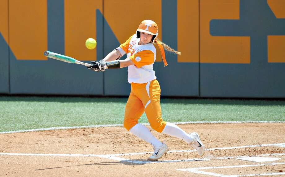 Tennessee's Aubrey Leach (10) hits a line drive against Florida during an NCAA college softball game Sunday, April 30, 2017, in Knoxville Tenn. Photo: AP Photo